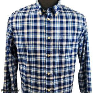 Club Monaco Casual Button Blue Plaid Shirt Size XL